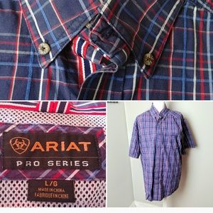ARIAT pro series XL Work Shirt Plaid Pocket Button
